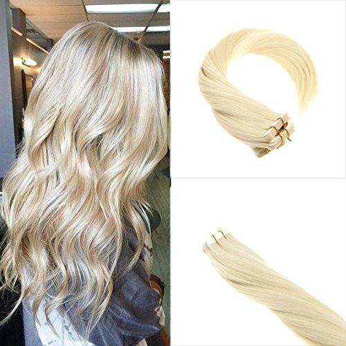 Sunny 40pcs 100g Per Set Tape in Hair Extensions Double Weft Highlighted White Blonde 60# 22 Inches Remy Tape in Extensions Human - Sunnies White