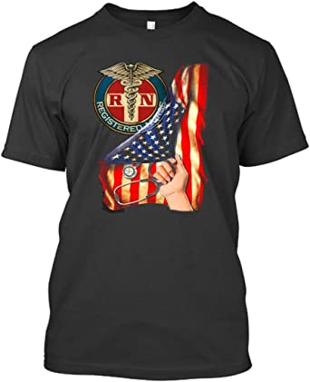 NewSongNN America Flag RN Registered Nurse T Shirts