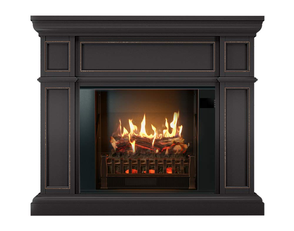 MagikFlame Electric Fireplace and Mantel – Artemis Dark Espresso – Large Electric Fireplaces with Heater – Electric Fireplace Heater – 26 Realistic Flame Aesthetics, Crackling Log Sounds for Home