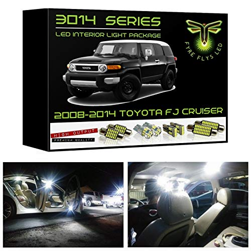 Fyre Flys 8 Piece White LED Interior Lights for 2007-2014 Toyota FJ Cruiser Super Bright 6000K 3014 Series SMD Package Kit and Install Tool