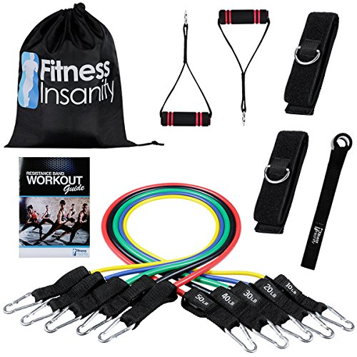 Fitness Insanity Stackable Exercise Bands with Door Anchor Attachment, Legs Ankle Straps, Exercise Guide and Waterproof Carrying - Safety Resistance Trainer