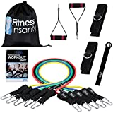 Resistance Band Set - Include 5 Stackable Exercise Bands with Waterproof Carrying Case, Door Anchor Attachment, Legs Ankle Straps and Exercise Guide Ebook - 100% Life Time Guarantee