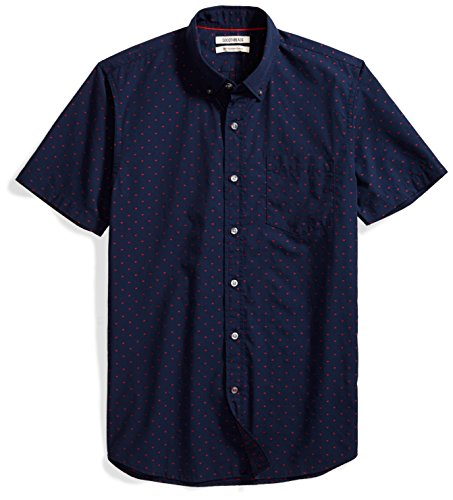 Goodthreads Men's Slim-Fit Short-Sleeve Dobby Shirt, Navy/Red, Medium