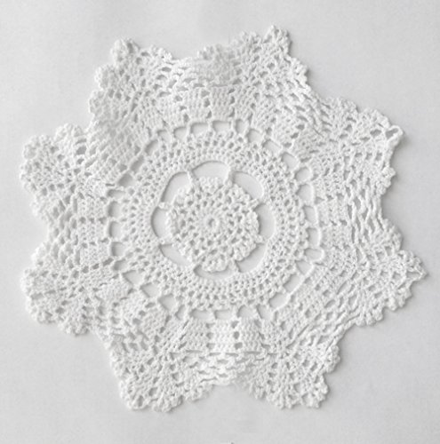 Fennco Styles Handmade Crochet Lace Cotton Doilies - 10-inch Round - 4-pack (Lace Crochet Afghan)