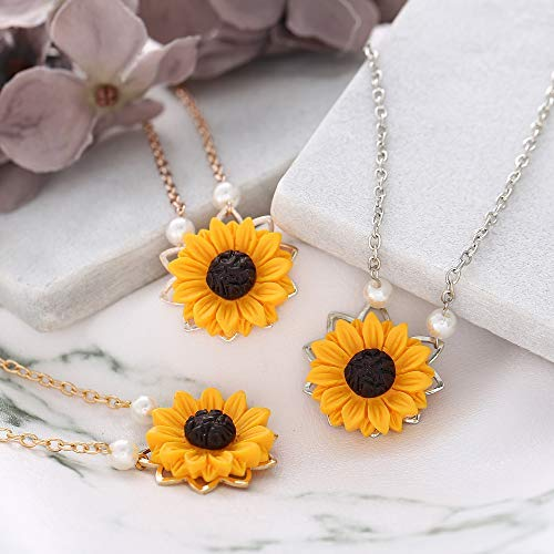 3d4e5ddad1 17mile Gold Resin Necklace Yellow Sunflower Necklace Gold Sunflower Pendant  Necklace Pearl Handmade Drop Choker Necklace