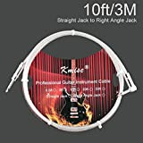 Guitar Cable 10 ft for Bass Keyboard Instrument Professional 1/4'' (6.3mm) Angle Male to Male Mono Braided Jacket Cord (Straight to Straight)