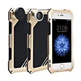 IPhone Fisheye Lens, Newest Popular Unique Cool Lens Camera Splash Jawp Waterproof Case [Macro, Telephoto, Wide Angle, Fisheye] Ultrathin Protect Case for Apple iPhone (i7gold)
