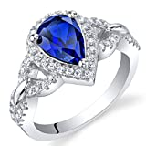 Created Blue Sapphire Sterling Silver Halo Crest Ring Size 8