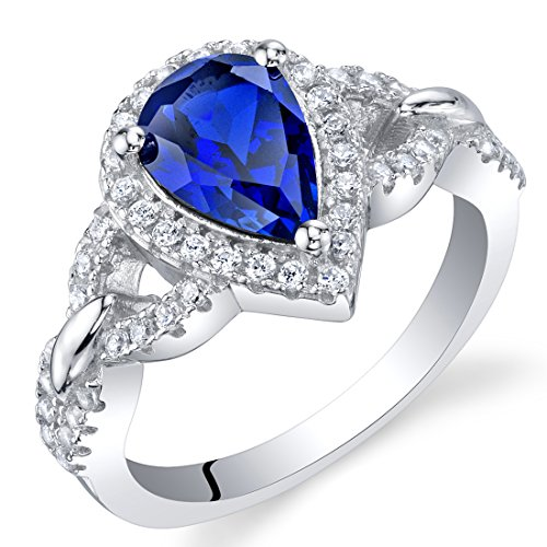 Created Blue Sapphire Sterling Silver Halo Crest Ring Size 8 by Peora