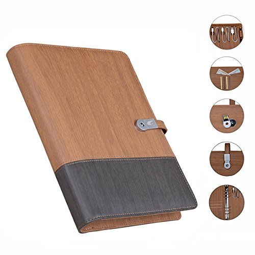 Leather Business Portfolio Padfolio Notebook with 8GB USB,3 in 1 6000mah Mobile Power Supply Case Cover for iPad /iPhone /Android (Wood Grain (Zip Notes Executive Battery)