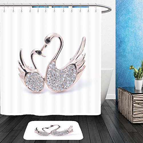 Vanfan Bathroom 2?Suits 1 Shower Curtains & ?1 Floor Mats brooch two swans isolated on white 325815107 From Bath room