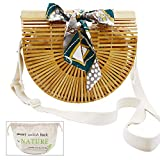 Bamboo Bag, WEST BAY Women's Natural Handmade Bamboo Handbags Purse Straw for Summer Beach Tote Bags
