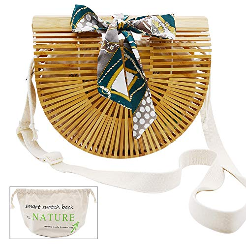 Bamboo Bag, WEST BAY Women's Natural Handmade Bamboo Handbags Purse Straw for Summer Beach Tote (Natural Fabric Handbags)