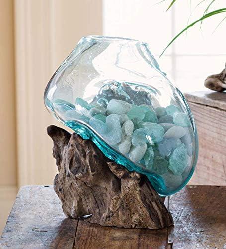 Hand Blown Molten Glass Teak Wood Terrarium/ Vase/ Fish Bowl