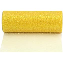Kel-Toy Glitter Tulle Fabric, 6-Inch by 25-Yard, Lemon Yellow