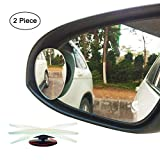 Ampper Egg Shape Blind Spot Mirrors, Frameless 360 Degree Rotate + Sway Adjustabe HD Glass Convex Wide Angle Rear View Car SUV Stick On Lens (Pack of 2)
