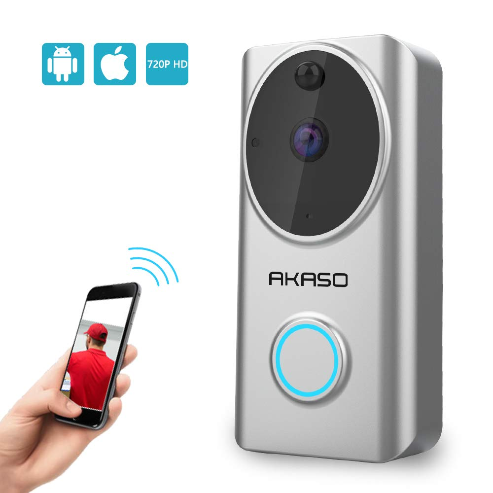 Video Doorbell Wireless WiFi,AKASO Smart Doorbell Camera with Motion Detector,720p Security Camera w/166° Viewing Angle Works with Alexa,Two-Way Audio & Cloud Storage,Night Vision for iOS Android