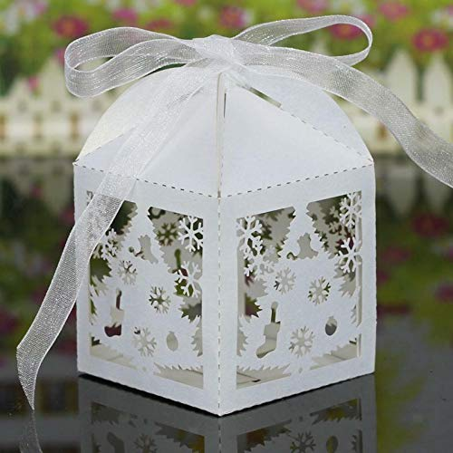 20Pcs Hollow Out Chocolate Candy Gift Boxes Wedding Party Favor Box With Ribbon |Color - Christmas Tree Pattern White|