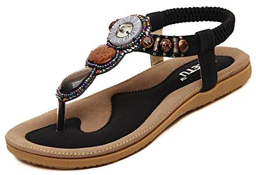 IDIFU Women's Sweet Beaded Split Toe Elastic Boho Flip Sandals T-Strap Thong Beach Shoes