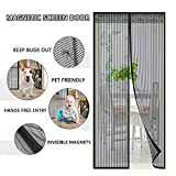 Magnetic Screen Door with Heavy Duty Curtain and Full Frame Velcro Fits Door Size Up to 39'' x 83'' Max