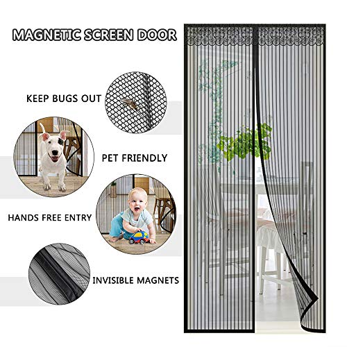 Magnetic Screen Door with Heavy Duty Curtain and Full Frame Velcro Fits Door Size Up to 39 x 83 Max