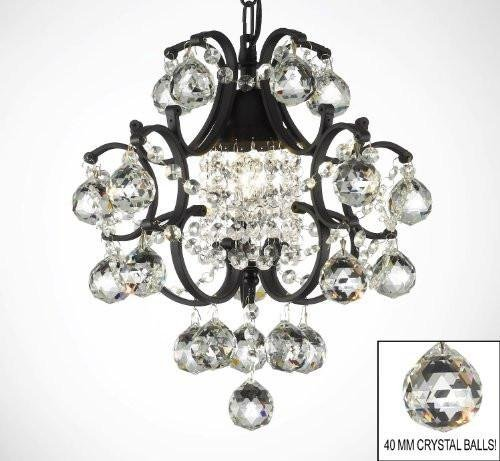 WROUGHT IRON MINI CRYSTAL CHANDELIER CHANDELIERS LIGHTING W/CRYSTAL BALLS! Review