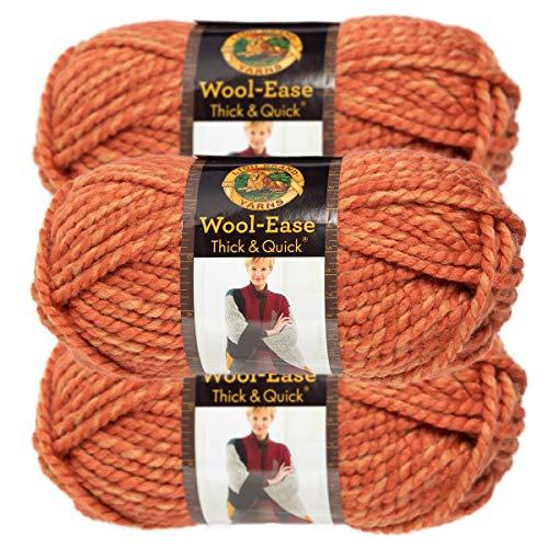 (Lion Brand Yarn (3 Pack) Wool Ease Super Chunky Yarn for Knitting Crocheting Soft Yarn Bulky #6 )