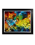 DecorArts - Abstract Art( Stained Glass Pattern), Giclee Prints Modern Artwork Printed on 100% cotton, Wall Art for Home Decor. 20x16'', Framed Size: 23x19''