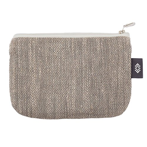 Handmade Gray Linen Cosmetic Bag - 7x9 inch Makeup Pouch Zippered Cosmetic Clutch Canvas Travel Case by ThingStoriesUS
