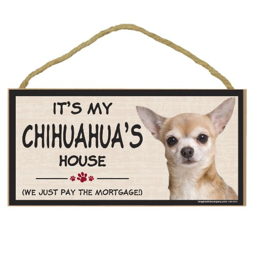 Imagine This Wood Breed Decorative Mortgage Sign, (Giraffe Costume Chihuahua)