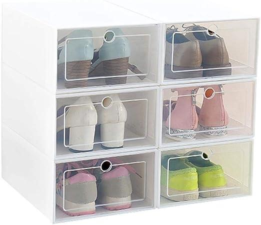 Ruier-hui Caja de Almacenamiento de Zapatos, 6 Paquetes de plástico Transparente Caja de Zapatos apilable Zapatos claros Organizador de Almacenamiento Estuche de Almacenamiento en casa para Oficina: Amazon.es: Hogar