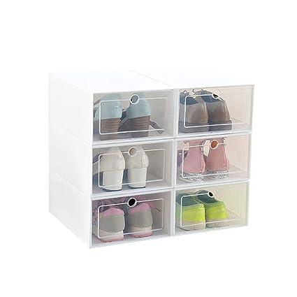 Ruier-hui Caja de Almacenamiento de Zapatos, 6 Paquetes de plástico Transparente Caja de