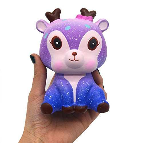 (Faironly Creative Cute Squishy Squeeze Doll Sika Deer Ornament Slow Rising Toy Flavored Stress Reliever Star Color)