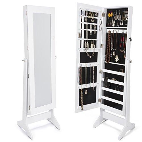 XXL Schmuckschrank mit Spiegel 160cm, weiß lackiert und mit schwarzem Samt ausgekleidet