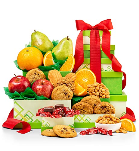GiftTree Orchard Fresh Fruit Gift Tower Set | 5 Gift Boxes Loaded with Premium Fresh Fruits, Dried Fruits, Savory Nuts, and Candies