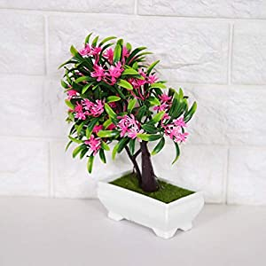 GLOGLOW Artificial Bonsai Flower Pot Fake Silk Flower Tree Plant for Wedding Holiday Home Decor 15