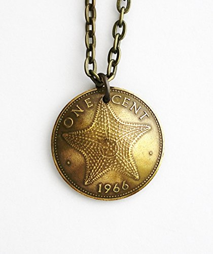 - Starfish Coin Necklace Penny Pendant Bahama Islands One Cent 1966