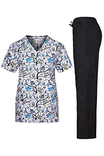 - MedPro Women's Medical Scrub Set with Printed V-Neck Wrap Top and Cargo Pants Blue Black XS(9004-1164GR)
