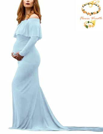 SICILY Maternity Dress Off Shoulders Ruffles Long Sleeves Maxi Gown ...