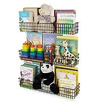 Wall35 Kansas Wall Mounted Kids Room Bookshelf Metal Wire Basket Varying Longer Sizes Set of 3