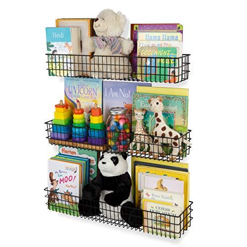 Wall35 Kansas Long Wall Mounted Kids Room Bookshelf Metal Wire Baskets Varying Sizes Set of 3 Black