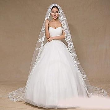 8a36f87f77cf Ei iLI 3 metri di lunghezza da sposa velo di pizzo velo da sposa nascosta lunga  coda