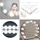 Clearance Konesky Hollywood Style Led Make-up Vanity Mirror Lights Kit with 10 Bulbs String Stepless Dimmable Touch Control, Lighting Fixture Strip for Makeup Vanity Table Set in Dressing Room