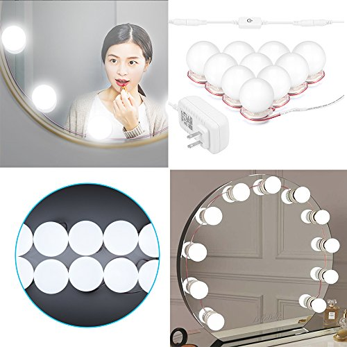Clearance Konesky Hollywood Style Led Make-up Vanity Mirror Lights Kit with 10 Bulbs String Stepless Dimmable Touch Control, Lighting Fixture Strip for Makeup Vanity Table Set in Dressing Room by Konesky