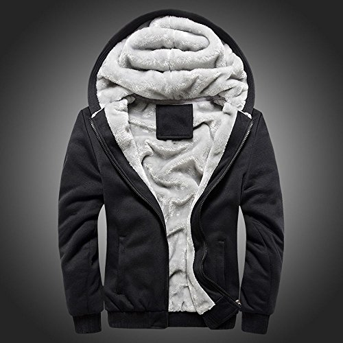 Toimothcn Mens Faux Fur Lined Coat Winter Warm Fleece Hood Zipper Sweatshirt Jacket Outwear (Black2,XXXXXL)