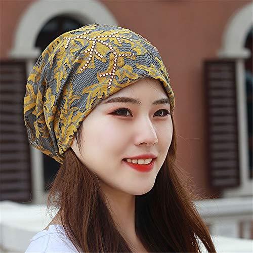 RangYR Women's Hat Lace Scarf Hat Drill Four Seasons Cap Air Conditioning Baotou Hat Decorative Cap Moon Cap Uniform Code 54-63Cm (Elastic) Yellow