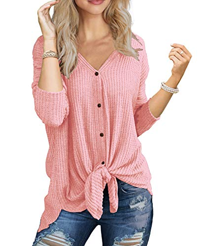 IWOLLENCE Womens Loose Henley Blouse Bat Wing Long Sleeve Button Down T Shirts Tie Front Knot Tops Pink L