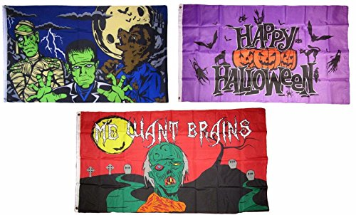 ALBATROS 3 ft x 5 ft Happy Halloween 3 Pack Flag Set #12 Combo Banner Grommets for Home and Parades, Official Party, All Weather Indoors Outdoors ()