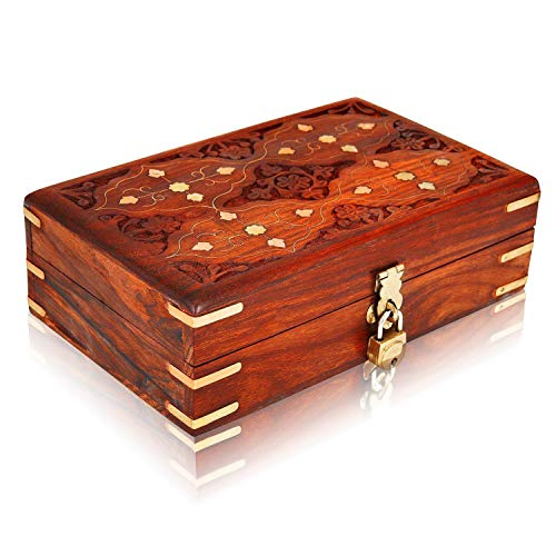 Christmas Gifts Handmade Decorative Wooden Jewelry Box With Free Lock & Key Jewelry Organizer Keepsake Box Treasure Chest Trinket Holder Lock Box Watch Box 8 x 5 Inch Anniversary Gifts Her