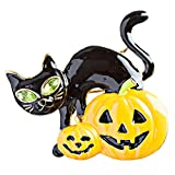 Halloween Costume Jewelry Black Cat Pumpkin Face Crystal Brooch Pin Orange Gold